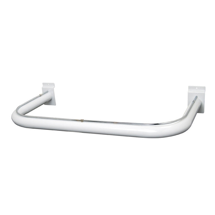 "Hangrail For Slatwall, ""U"" Shaped, 11""D X 22""L, Rnd Tubing, White"