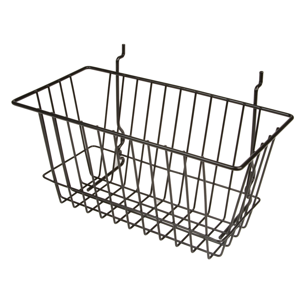 "Capitol Hardware's All Purpose Narrow Retail Display Basket, 12"" x 6"" x 6"", Black"