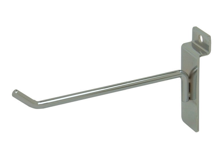 "Display Hook, For Slatwall, 6""L, 1/4"" Dia Wire, Chrome"