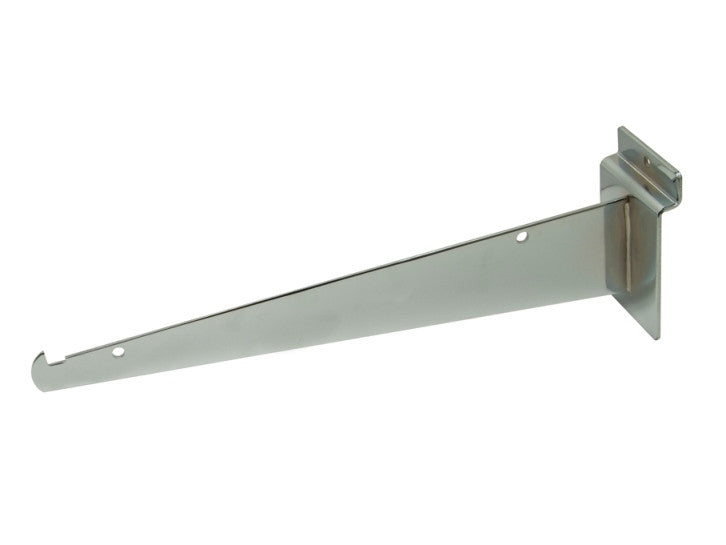 "Shelf Bracket W/ Lip, For Slatwall, 10"", Chrome"