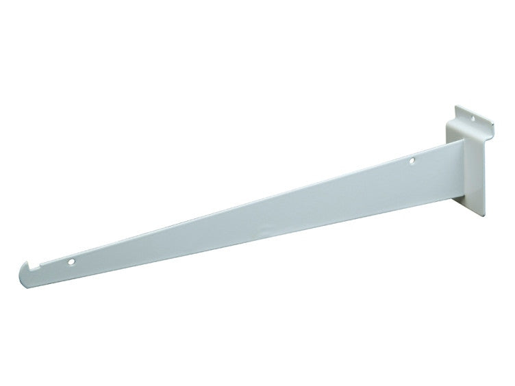 "Shelf Bracket W/ Lip, For Slatwall, 14"", White"