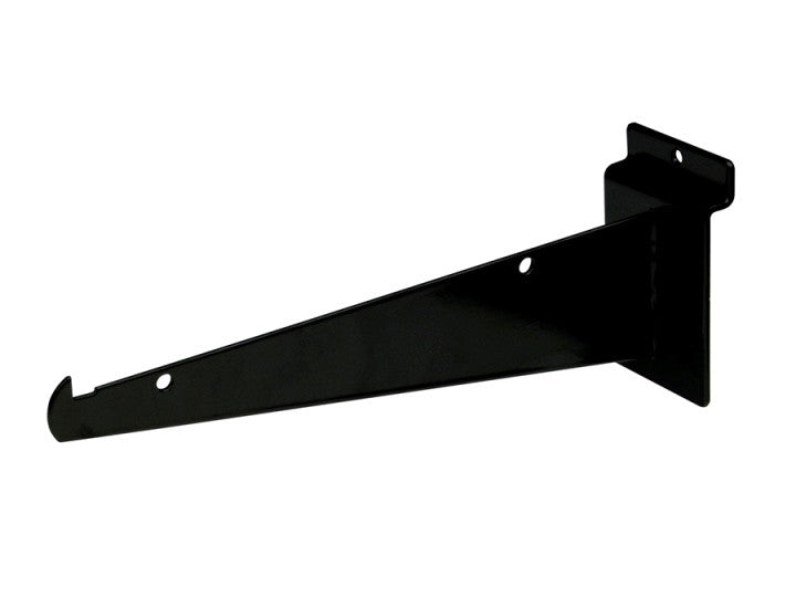 "Shelf Bracket W/ Lip, For Slatwall, 8"", Black"