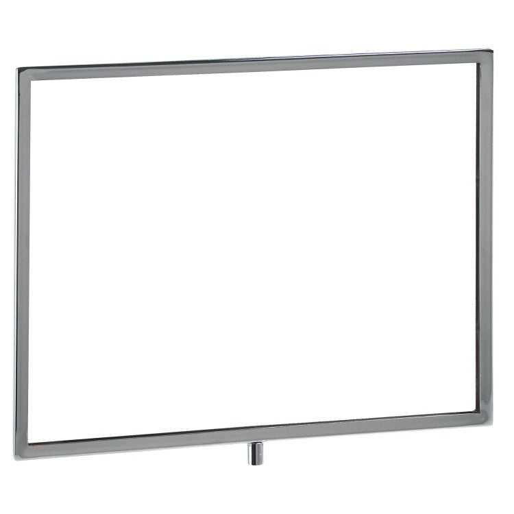"Signholder, 14""W X 11""H, Mitered Corners, Fits 3/8"" Threaded Stem, Chrome"