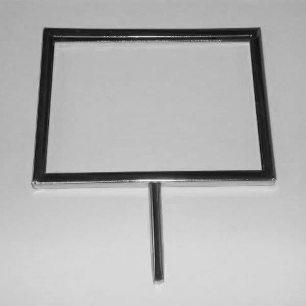 "Signholder, 7""W X 5-1/2""H, Mitered Corners, With 3"" Swedge Stem, Chrome"