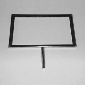 "Signholder, 11""W X 7""H, Mitered Corners, With 3"" Swedge Stem, Chrome"