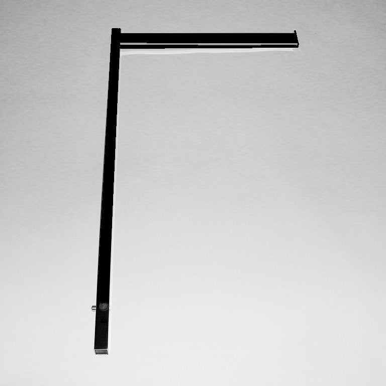 "Replacement Arm For Sq Uprts, 16"" Rect Tube W/ End Stop, Text Black W/ Chrome Strip"
