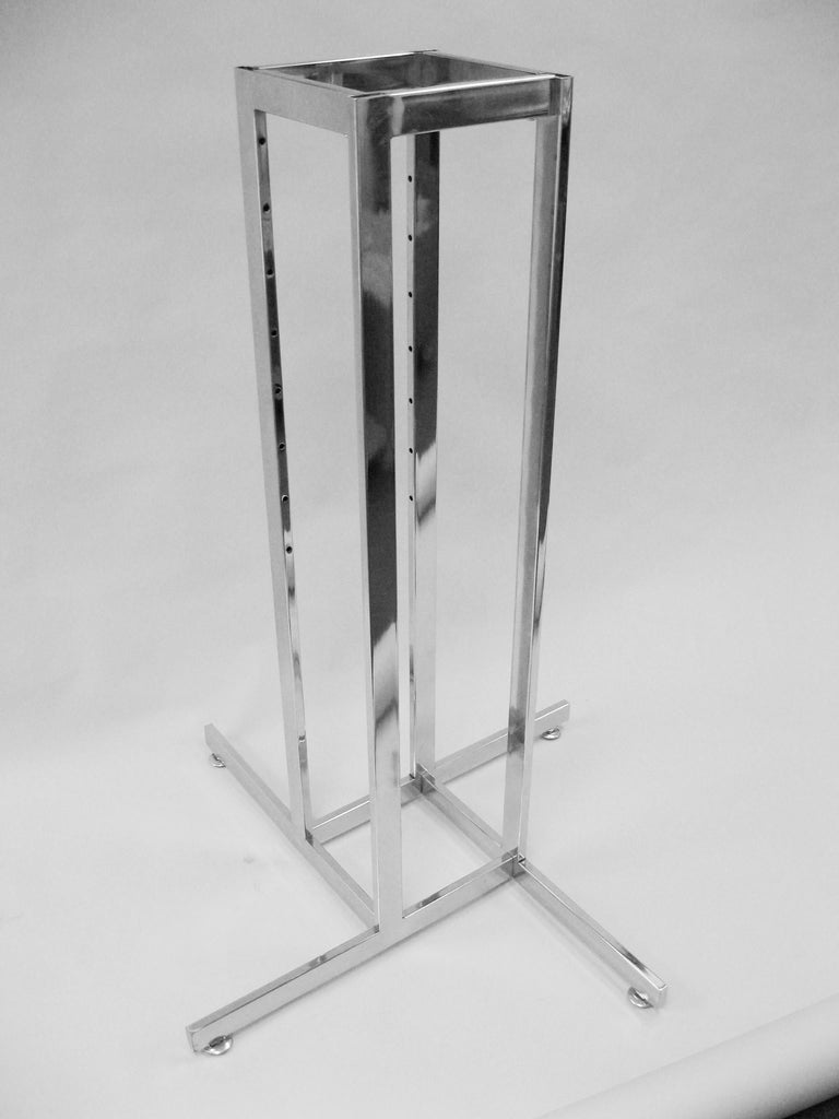 Base For 4-Way Racks, Rect Tube, Chrome