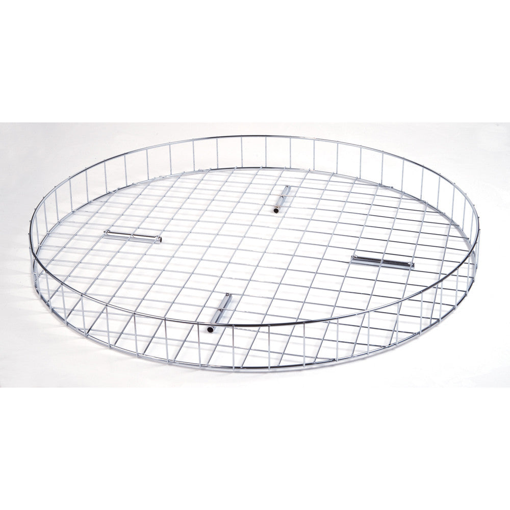"Round Clothing Rack Top, 30"" Dia., Grid Basket, Chrome"