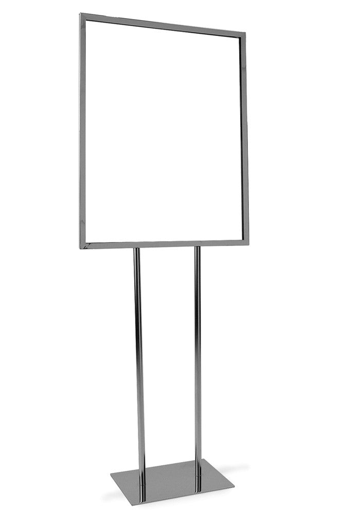 "Bulletin Sign Holder, 22""W X 28""H, Flat Base, Chrome"