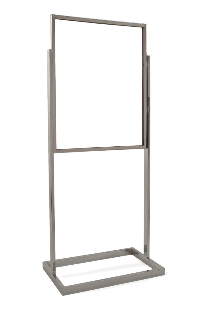 "Bulletin Sign Holder, 22""W X 28""H, Rect Tube Frame & Base, Chrome"