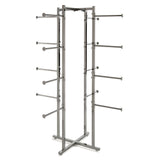 "4 Way Folding Retail Lingerie Rack with 16 12"" Round Tube Arms in Chrome"