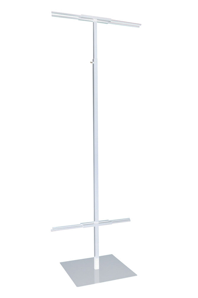 "Banner Stand, Adjustable 48"" To 92""H X 24""W, White"