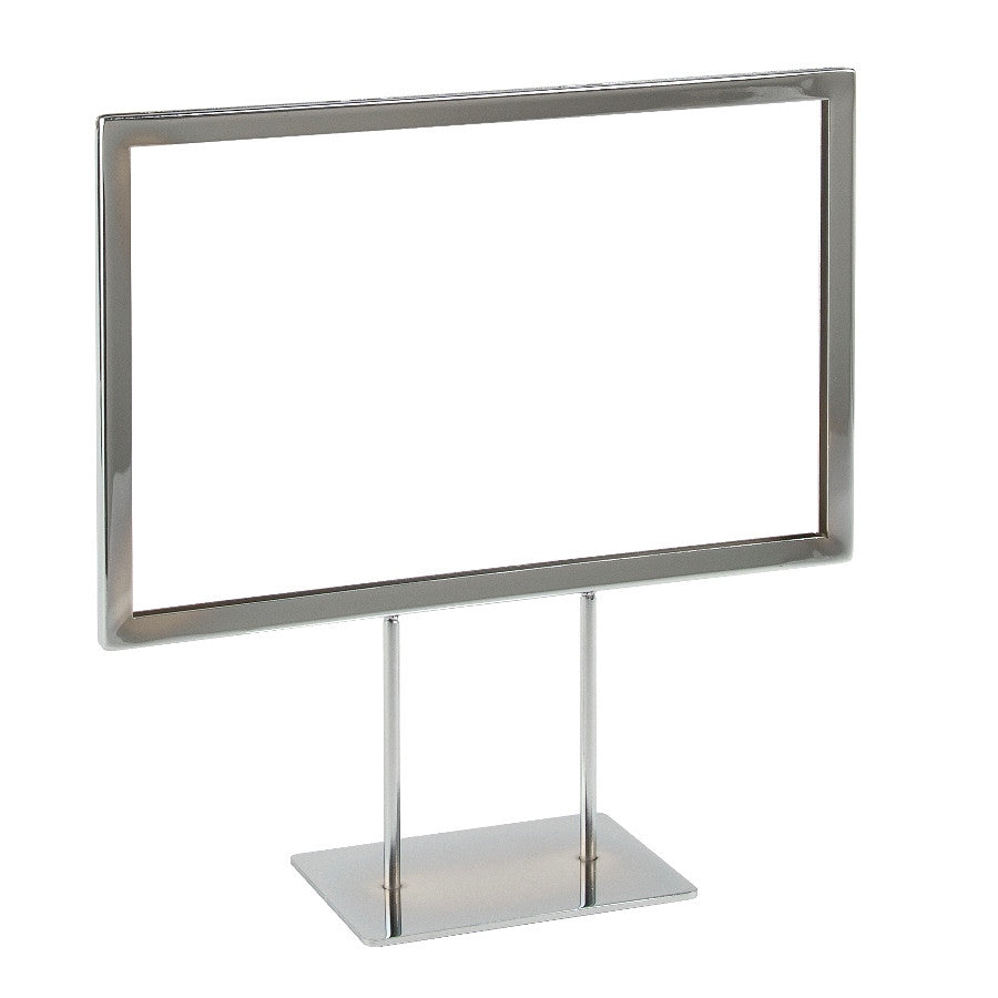 "Signholder, Counter Top, 11""W X 7""H, Mtrd Corners, (2) 3""L Stems, Flat Base, Chrome"