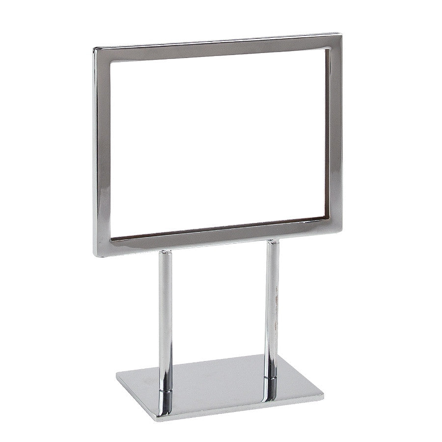 "Signholder, Counter Top, 7""W X 5-1/2""H, Mtrd Corners, (2) 3""L Stems, Flat Base, Chrome"