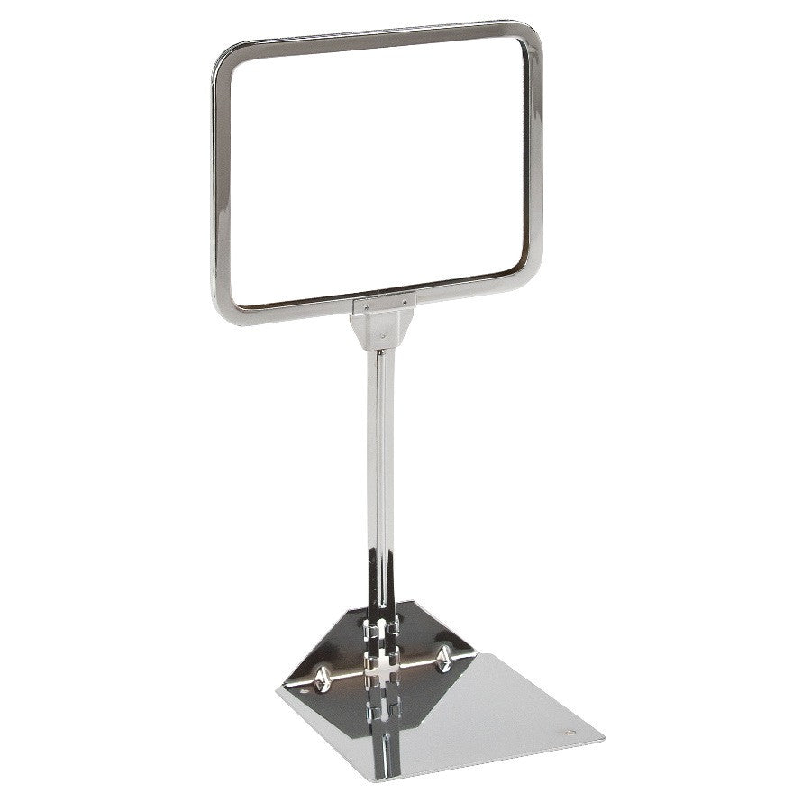 "Signholder, Counter Top, 7""W X 5-1/2""H, Rnd Corners, 10"" Stem, Shovel Base, Chrome"