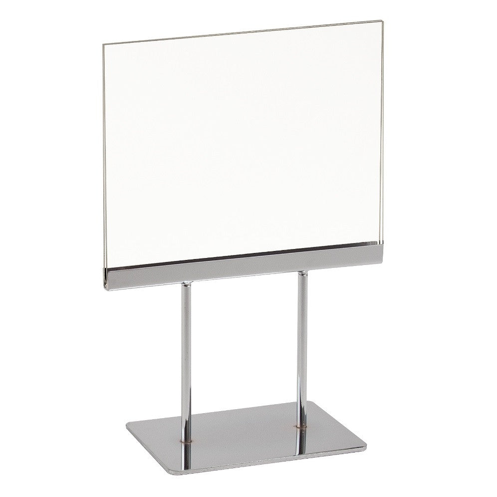 "Signholder, Counter Top, 7""W X 5-1/2""H, (2) 3""L Stems, Flat Base, Chrome Channel W/ Plexi Frame"