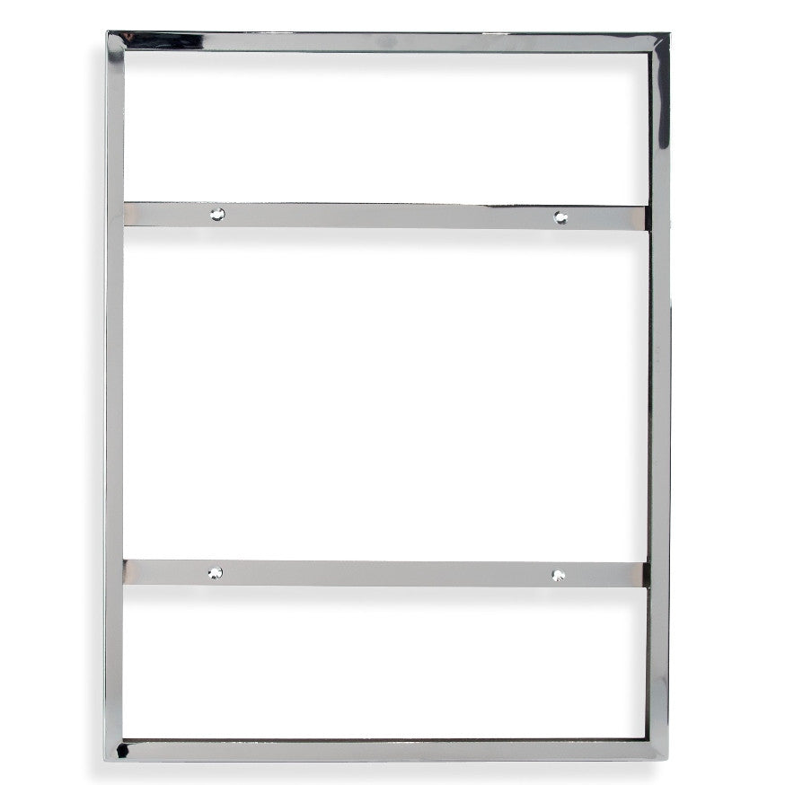 "Signholder, Wallmount, 22""W X 28""H, Mitered Corners, Chrome"