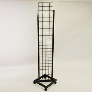 Grid tower for retail display. Includes casters for easy mobility.