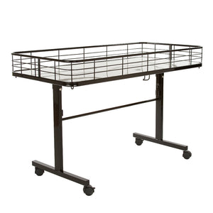 This dump table is mobile with four casters, two of which are locking.