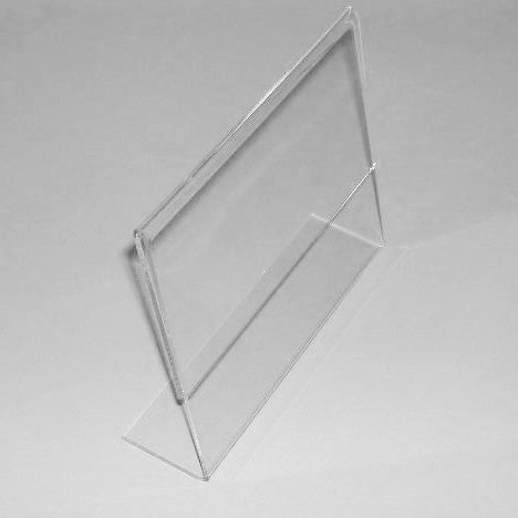"Signholder, Counter Top,, 11""H X 8-1/2""W, Slant Back, Side Load, Plexi"