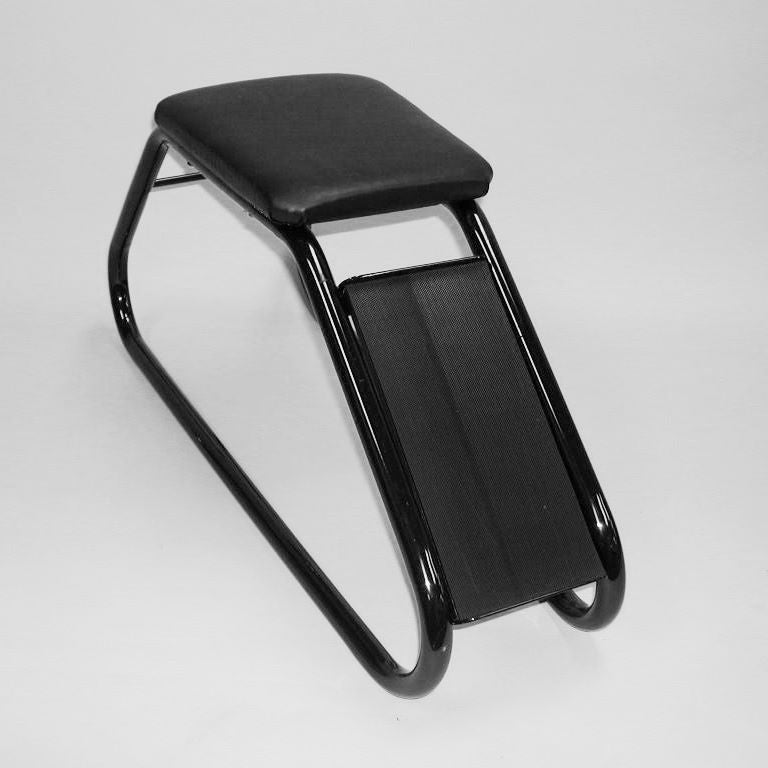 Shoe Fitting Stool, Black With Black Padded Seat