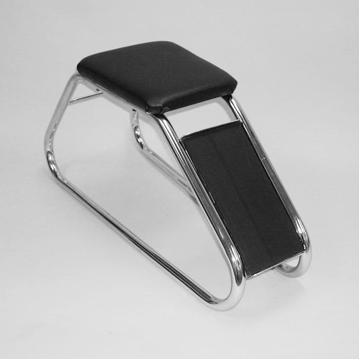 Shoe Fitting Stool, Chrome With Black Padded Seat