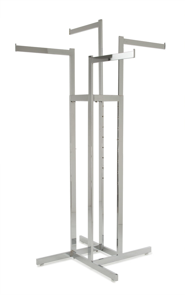 4-Way Rack, Rect Uprights, W/ Rect Tube Straight Arms, Chrome