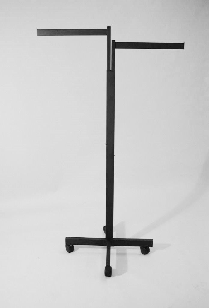 2-Way Rack, Rectangular Upright with X Base, Rectangle Tube and 2 Straight Arms in Black