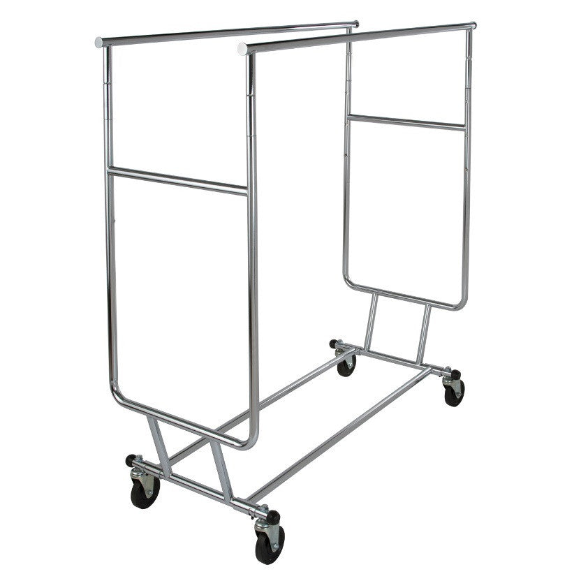 "Salesman's Double Bar Folding Rack 48"" L 55""  65"" H Chrome"