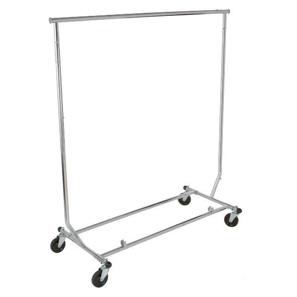 "Salesman's Single Bar Folding Rack 48"" L 55"" - 65"" H Chrome"