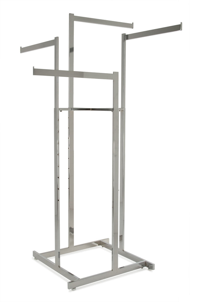 "4-Way Hi-Cap Rack with Rect Uprights and 22"" Rect Tube Straight Arms in Chrome"