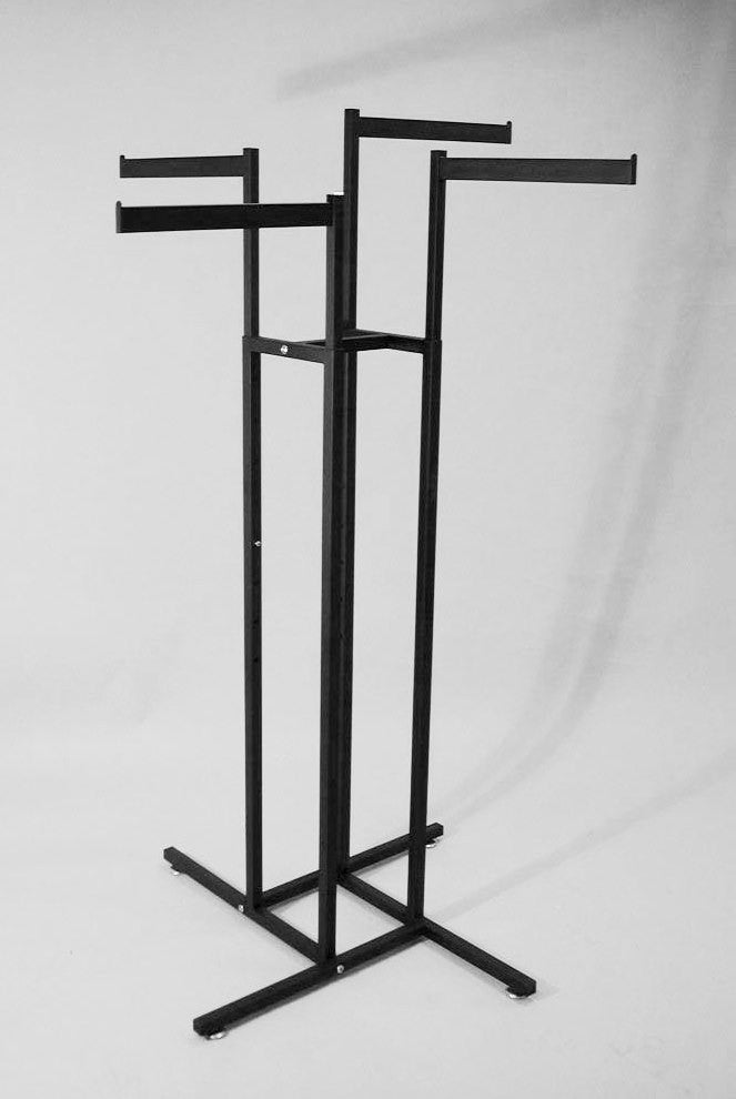 4-Way Rack with Sq Uprights and Rect Tube Straight Arms in Black