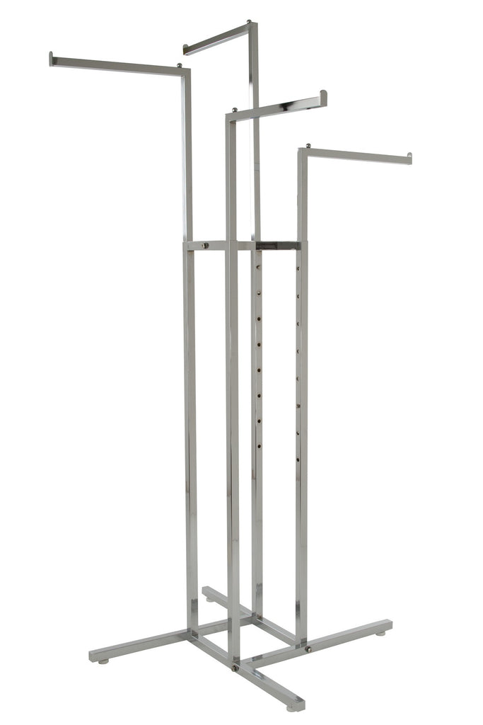 4-Way Rack with Sq Tube Straight Arms in Chrome