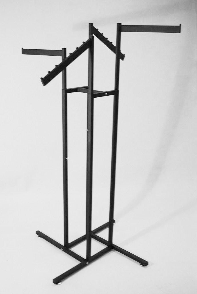 4-Way Rack, Sq Uprights, W/ Rect Tube Arms, 2 Strt & 2 Wtrfll, Black