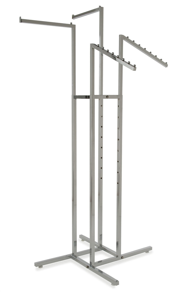 4-Way Rack with Sq Uprights, 2 Straight Arms, 2 Waterfall Arms in Chrome