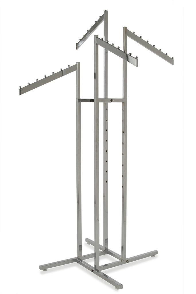 4-Way Rack with Sq Uprights and Rect Tube Waterfall Arms in Chrome