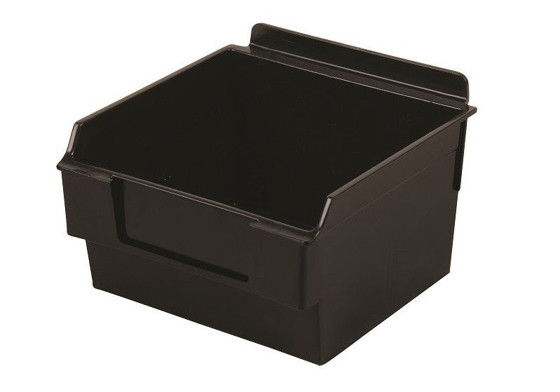 Capitol Hardware's Shelfbox 100 Slatbox storage bins work with Slatwall and other wall systems