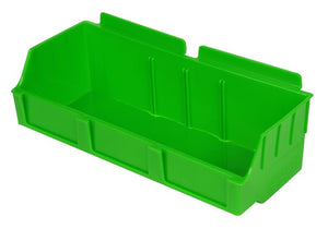 Slatbox storage bin for Capitol Hardware's Slatwall, Storbox, for retail display. Green.