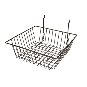 "Our 12""L x 12""D x 4""H sturdy wire basket will compliment your display and holds small- to medium-sized products nicely."