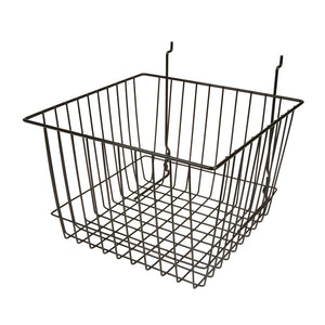 Add depth to your product displays with this wire basket. Its versatility to slatwall, pegboard and gridwall make it a popular item among retailers.