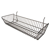 Add character and arrange your merchandise neatly with our durable wire baskets. Available in black, white and chrome, these baskets work with slatwall, grid and pegboard.