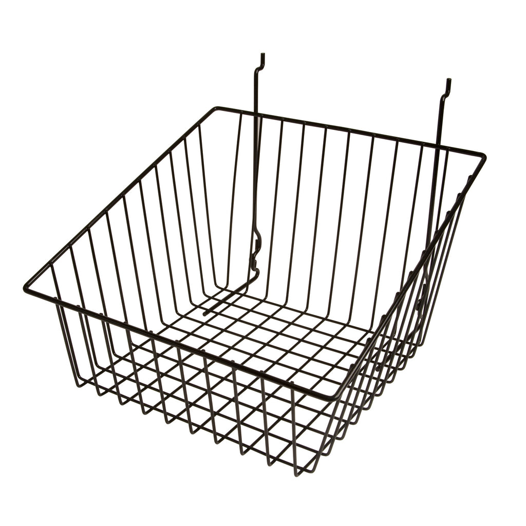 Elite Sourcing's slanted wire retail baskets help draw attention to your merchandise. Keep your products organized and accessible. These baskets work with slatwall, grid and pegboard.