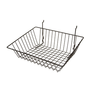 Make your merchandise more visible with our durable wire baskets. Available in white, black and chrome, these baskets fit into various wall display systems.