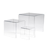 "Acrylic Risers, Set of 3, Measuring 3"", 4"", 5"" High"