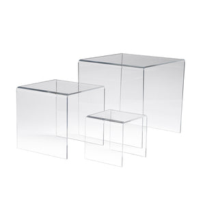 "Acrylic Risers, Set Of 3, Measuring 3"", 5"", 7"" High"