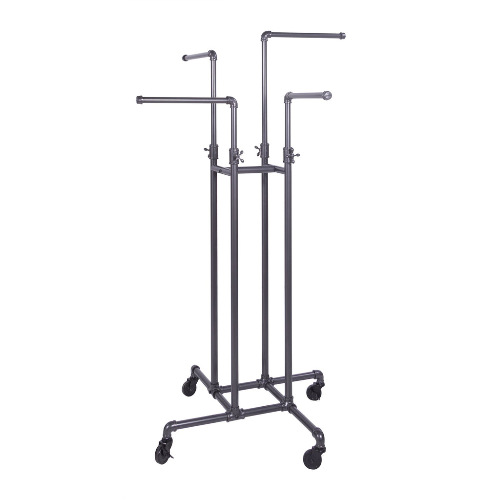 Capitol Hardware's Pipeline 4-Way Adjustable Rack, Anthracite Gray