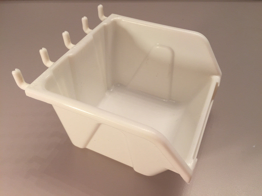 "Plastic Slatwall Storage Bins, Hobibox ""Small"" 10Pk, White 4.25 x 4.5 x 2.87"