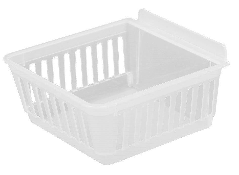 Slatbox Plastic Slatwall Storage Bins, Cratebox ''Long'', White 8.5x5.75x3.37