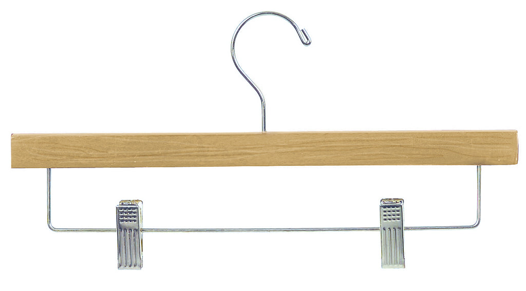 14 Inch Flat Wood Pant or Skirt Hangers Natural w Chrome Bar and Clips