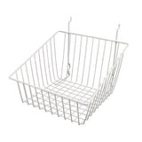 "Capitol Hardware's All Purpose Shallow Front Retail Display Basket, 12"" x 12"" x 8"", White"